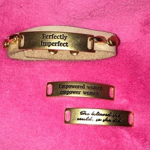 Leather Cuff w/set of 3 interchangeable messages